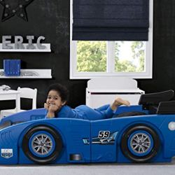 Delta Children Grand Prix Race Car Toddler & Twin Bed – Made in USA, Blue