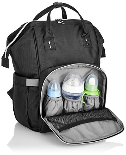 41ZNYpFI4rL - Amazon Brand - Solimo Baby Diaper Bag, Black