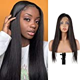 ORIGINAL QUEEN Straight Lace Front Wig With Pre Plucked Hairline Brazilian Straight Human Hair Wigs Natural Color(22 inches)