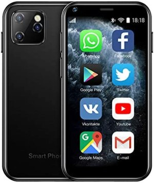 SOYES XS11 3G Mini Smartphone 2.5Inch WiFi GPS RAM 1GB ROM 8GB Quad Core Android 6.0 Cell Phones with 3D Glass Slim Body HD Camera Dual Sim Quad Core Google Play Market Cute Smartphone (Black)