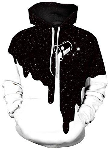 FLYCHEN Men's Digital Print Sweatshirts Hooded Top Galaxy Pattern Hoodie S/M Fashion Black White
