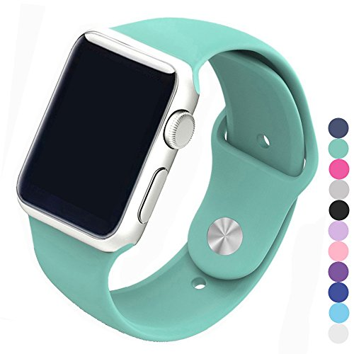 Piwjo Silicone Apple Watch Band and Replacement Iwatch Bands Series 1,Series 2,Series 3 (38mm M/L, Mint Green)