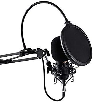 AUKEY Microphone à condensateur Microphone cardioïde USB avec filtre passe-bas et PAD, Trépied pour et PC