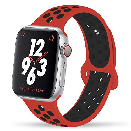 YC YANCH Greatou Compatible for Apple Watch Band,Soft Silicone Sport Band Replacement Wrist Strap Compatible for iWatch Apple Watch Series 3/2/1,Nike+,Sport,Edition,38mm S/M,Red Black