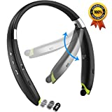 [Newest Design] Foldable Bluetooth Headset, SenboweTM Upgrade Wireless Neckband Bluetooth Headset with Retractable Earbud and Foldable Design for iPhone, Android, Other Bluetooth Enabled Devices