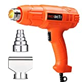 REXBETI 1800W Dual Temperature Heat Gun, 140℉-1210℉(60℃-654℃) High Power Hot Air Gun, Ergonomic Body Design, 2 Nozzle Attachments, Fast Heating In Seconds, No Smoke Issue