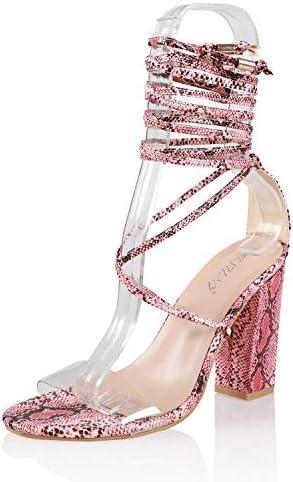 JSUN7 Women's Fashion Lace Wrap Open Round Toe Summer Chunky Block Elegant Heel Sandal Pump Shoe 1
