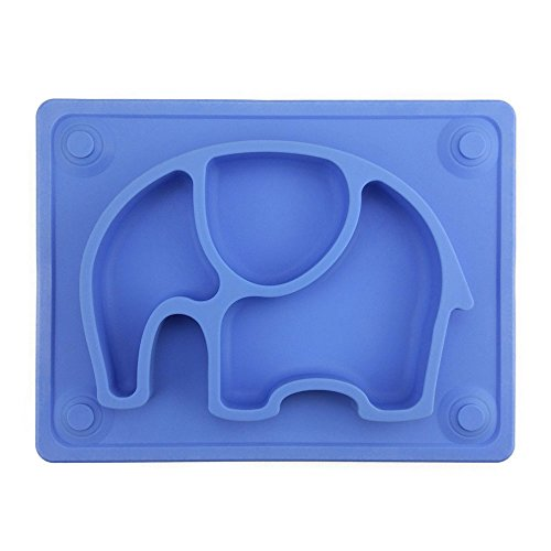 Baby Placemat, SILIVO 10'x7.7'x1' Silicone Child Feeding Plate with Suction Cup Fits Most Highchair Trays Blue