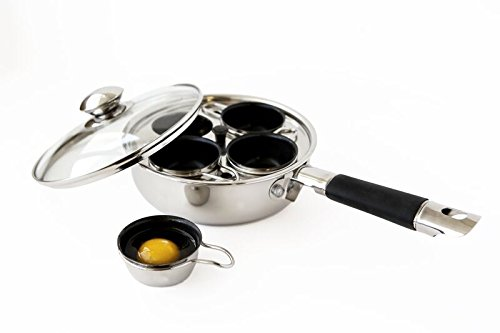 ExcelSteel 521 Non Stick Easy Use Rust Resistant Home Kitchen Breakfast Brunch Induction Cooktop Egg Poacher 4 Cups 18/10 Stainless Steel