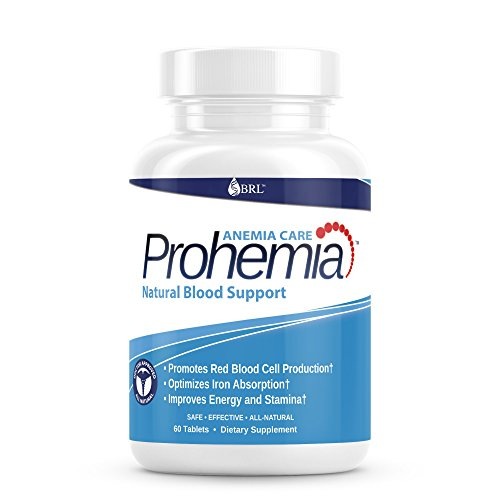 Prohemia Natural Blood Builder and Support for Healthy Iron Levels, Oxygen and Red Blood Cells Production, Gluten-Free, Non-GMO - 60 Tablets...