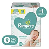 Pampers Sensitive Water-Based Baby Diaper Wipes, 9 Refill Packs for Dispenser Tub - Hypoallergenic and Unscented - 576 Count