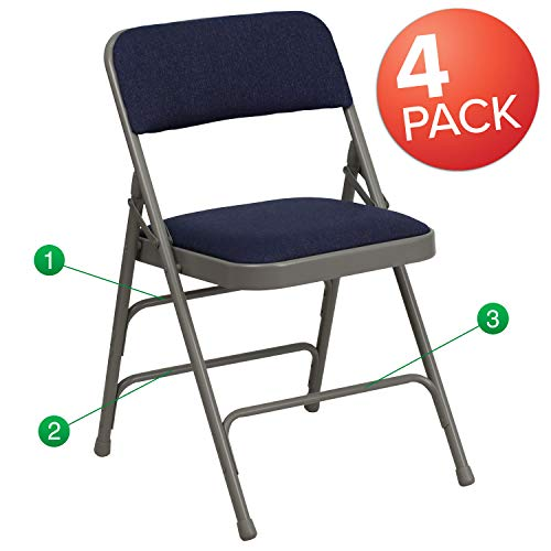 Flash Furniture 4 Pk. HERCULES Series Curved Triple Braced & Double Hinged Navy Fabric Metal Folding Chair -