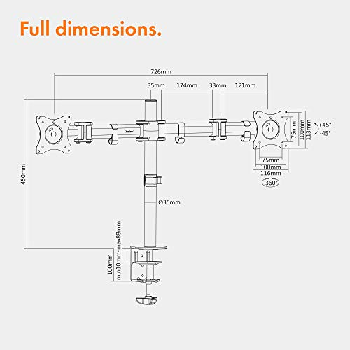 "41ZufsLt59L - VonHaus Dual Monitor Mount for 13-27"" Screens - Double Arm Desk Stand Bracket with Clamp - Ergonomic 90° Tilt, 360° Rotation & Twin 180° Swivel Arms - VESA Dimensions: 75x75-100x100"