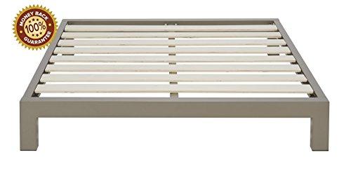 Stella Metal Platform Bed Frame - Modern, Finish - Thick and Wide Slats - Grey / Champagne
