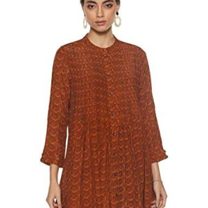 Label RITU KUMAR Mandrain Collar 3/4 Sleeves Short Dress