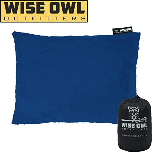 Wise Owl Outfitters Camping Pillow Compressible Foam Pillows – Use When Sleeping in Car, Plane Travel, Hammock Bed & Camp – Adults & Kids - Compact Small & Large Size - Portable Bag - LG Blue