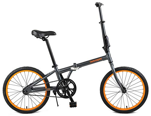 Retrospec Judd Single-Speed Folding Bike with Coaster Brake, Matte Graphite
