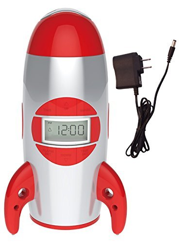 Big Red Rooster BRRC100AC Rocket Ship Projection Alarm Clock