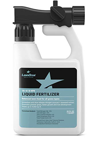 LawnStar 16-4-8 NPK Fertilizer (32 OZ) - Makes Grass Grow Greener & Faster - Liquid Lawn Food with Slow & Fast Release Nitrogen - Ideal Spring & Summer Spray for All Grass Types - American Made