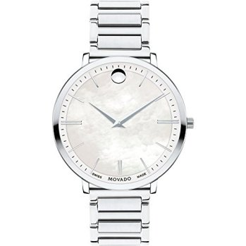 Movado Ultra Slim Quartz Movement Mother Of Pearl Dial Ladies Watch 0607170