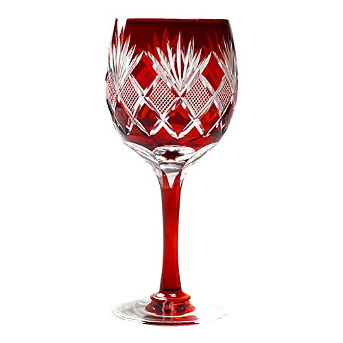 Hand Blown Decorative Wine Glasses Edo Kiriko Cut Glass Nanako Fine Checked Pattern - Red [Japanese Crafts Sakura]