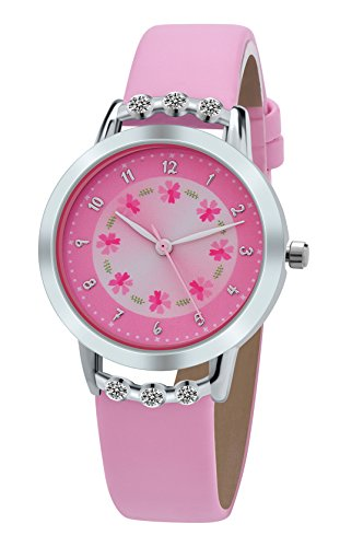 DOVODA Girl Watches Easy Reader Time Teacher Flowers Diamond Pink Leather Watch for Kids