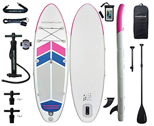 Aqua Plus 10ftx32inx6in Inflatable SUP for All Skill Levels with Stand Up Paddle Board Boat, Adjustable Paddle,Double Action Pump,ISUP Travel Backpack, Leash, TPU Waterproof Bag, Shoulder Strap