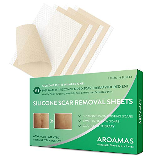 Aroamas, Silicone Scar Removal Sheets - for Keloid, C-Section, Hypertrophic, Surgical Scars and More Reusable and Washable 3'×1.57', 4 Sheets (2 Month Supply)