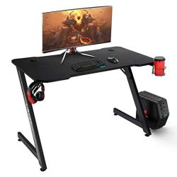 Hbada Computer Gaming Desk, 43.3 Inch Sturdy Z-Shaped PC Office Desk, Ergonomic Home E-Sports Workstation, Large Carbon Fiber Texture Surface Desk with Headphone Hook and Cup Holder. (Black)