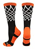 MadSportsStuff Crew Length Elite Basketball Socks with Net (Black/Orange, Large)