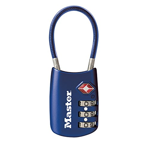 Master Lock Padlock, Set Your Own Combination TSA Accepted Cable Luggage Lock, 1-3/16 in. Wide, Blue, 4688DBLU
