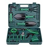xderlin Garden Tools Set,12 Piece Gardening Gifts Stainless Stee Garden Tool Set with Storage case -Garden Gifts for Men & Women(12 Pieces-Green)
