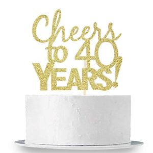 INNORU Gold Glitter Cheers to 40 Years Cake Topper – 40 Years Loved, 40 Years Bless, 40&Fabulous, Happy 40th Birthday Party Decorations Supplies 41aT89KPyYL