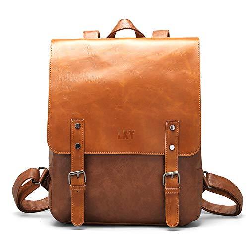 Vegan Leather Backpack Vintage Laptop Bookbag