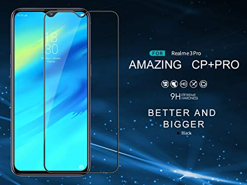 Nillkin Tempered Glass for Oppo Real Me Realme 3 Pro Pro CP+ Pro 0.3mm Thin Glass Edge Shaterproof Full Screen Coverage Explosion Proof Screen Protect Black Color 9