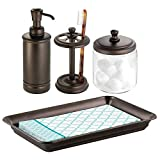 mDesign Classic Bath Accessory Set for Bathroom Vanity Countertops and Sinks, Includes Glass Canister Jar, Toothbrush Holder, Soap Pump Dispenser and Vanity Tray, Set of 4 - Bronze