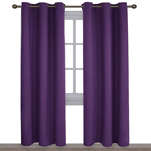 NICETOWN Triple Weave Home Decoration Thermal Insulated Solid Ring Top Blackout Curtains/Drapes for Bedroom(Set of 2,42 x 84 Inch,Royal Purple)