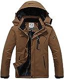 MAGCOMSEN Rain Jackets for Men Waterproof Jacket Snowboarding Travel Walking Ski Skiing Coat Winter Raincoats for Men Windbreaker Coffee Brown