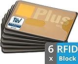 valonic RFID Blocking Credit Card Sleeves, 6-Pack, Frosty Transparent Plastic, Protector Sleeve, Blocker