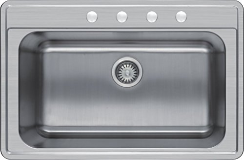 "Winpro 33""x 22""x 8"" Top Mount Single Bowl 304 Stainless Steel Kitchen Sink with 4 Faucet Holes"
