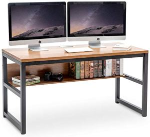 TOPSKY 55' Computer Desk with Bookshelf/Metal Desk Grommet Hole Wire Cover (Oak_Brown+Black Frame)