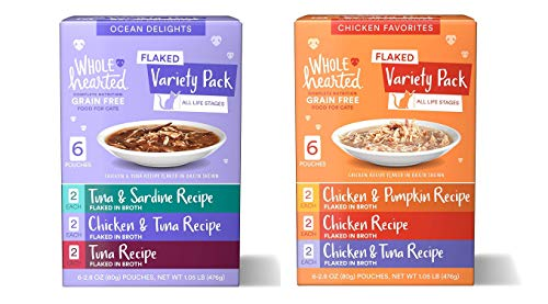 WholeHearted Grain Free Flaked Wet Cat Food Variety Pack for All Life Stages. (Chicken & Ocean, 12-2.8 Oz Pouches)
