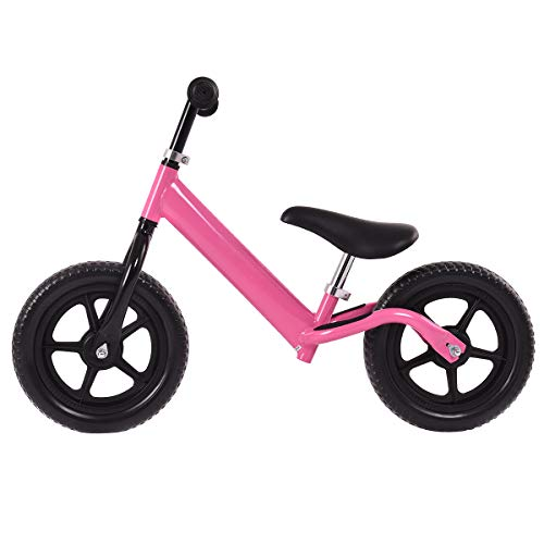 Costzon Kids Balance Bike, 12 Inch Classic Lightweight No-Pedal Toddlers Walking Bicycle w/Height Adjustable Seat and Handle, for Children Boys & Girls Age 2-5 (Pink)
