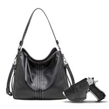 Large Concealed Carry Handbag and Purse For Women Designer Ladies Hobo Bag Faux Leather With Crossbody Strap and Gun…