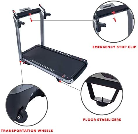 Sunny Health & Fitness ASUNA SpaceFlex Electric Running Treadmill with Auto Incline, LCD and Pulse Monitor, Speakers, Device Holder, 220 LB Max Weight, Folding and Transportation Wheels - 7750 5