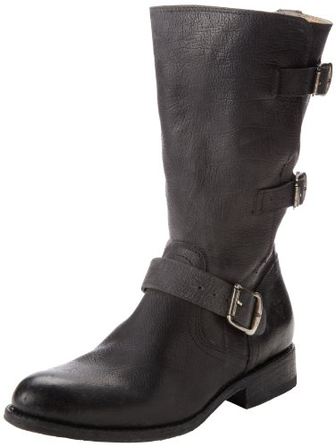 41av UUkgFL Grained leather boot with trio of buckle details Antiqued metal hardware Functional buckles and a side zipper create an optional cuff