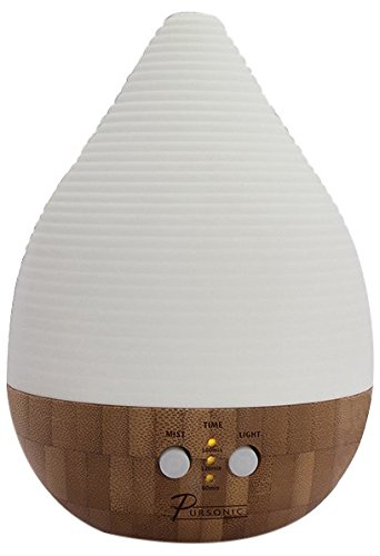 Pursonic AD260 Bamboo and Ceramic Aroma Diffuser with Ambient Lighting, 2 Aromatherapy Essential Oils
