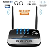Bluetooth 5.0 Transmitter, MANLI 3 in 1 Bluetooth Transmitter Receiver 265FT Long Range for PC,Car/TV/Home Stereo System, Support aptX HD & aptX Low Latency, Dual Link, Optical RCA AUX 3.5mm