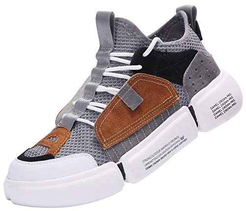 CAMEL CROWN Fashion Sneaker, Lightweight Walking Shoes, Sport Shoes for Men, Athletic Running Shoes for Walking, Shopping, Party, Activities Grey Brown
