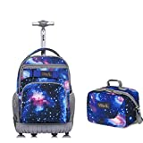 Tilami New Antifouling Design 18 Inch Wheeled Rolling Backpack Luggage and Lunch Bag (White Dot series 3)